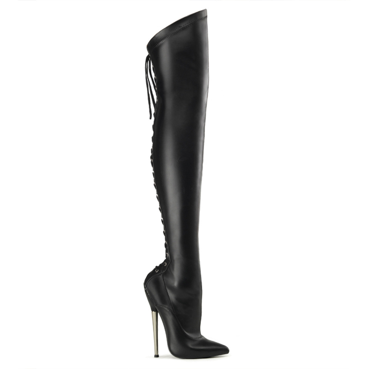 "6 1/4"" Solid Brass Heel Back Lace-Up Thigh High Boot*"