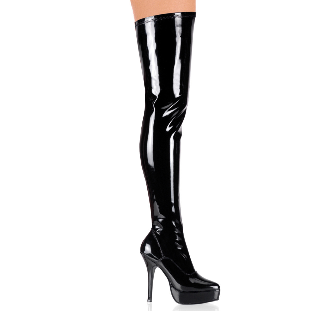 "5 1/4"" Black Stretch Platform Patent Leather Thigh Boot*"