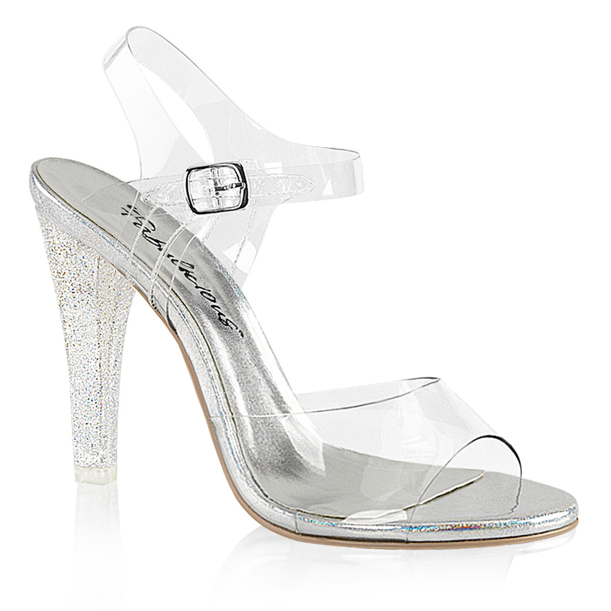 """Clear Lucite 4.5"""" Heel Ankle Strap Sandal"""