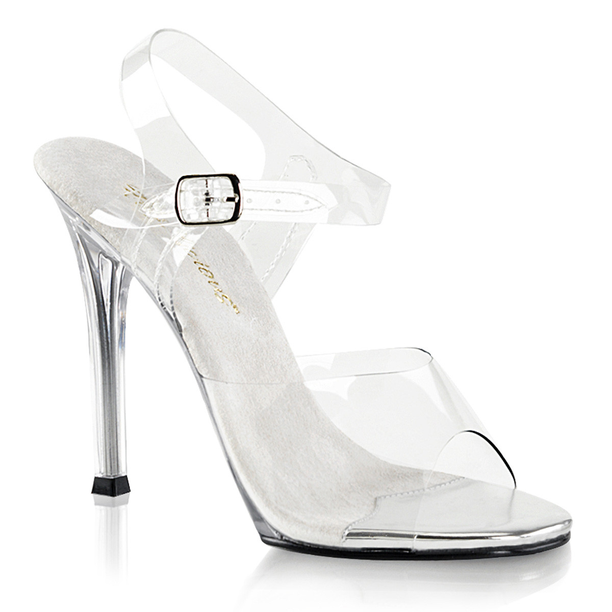 """Women's Clear Lucite 4.5"""" Heel Ankle Strap Sandal"""