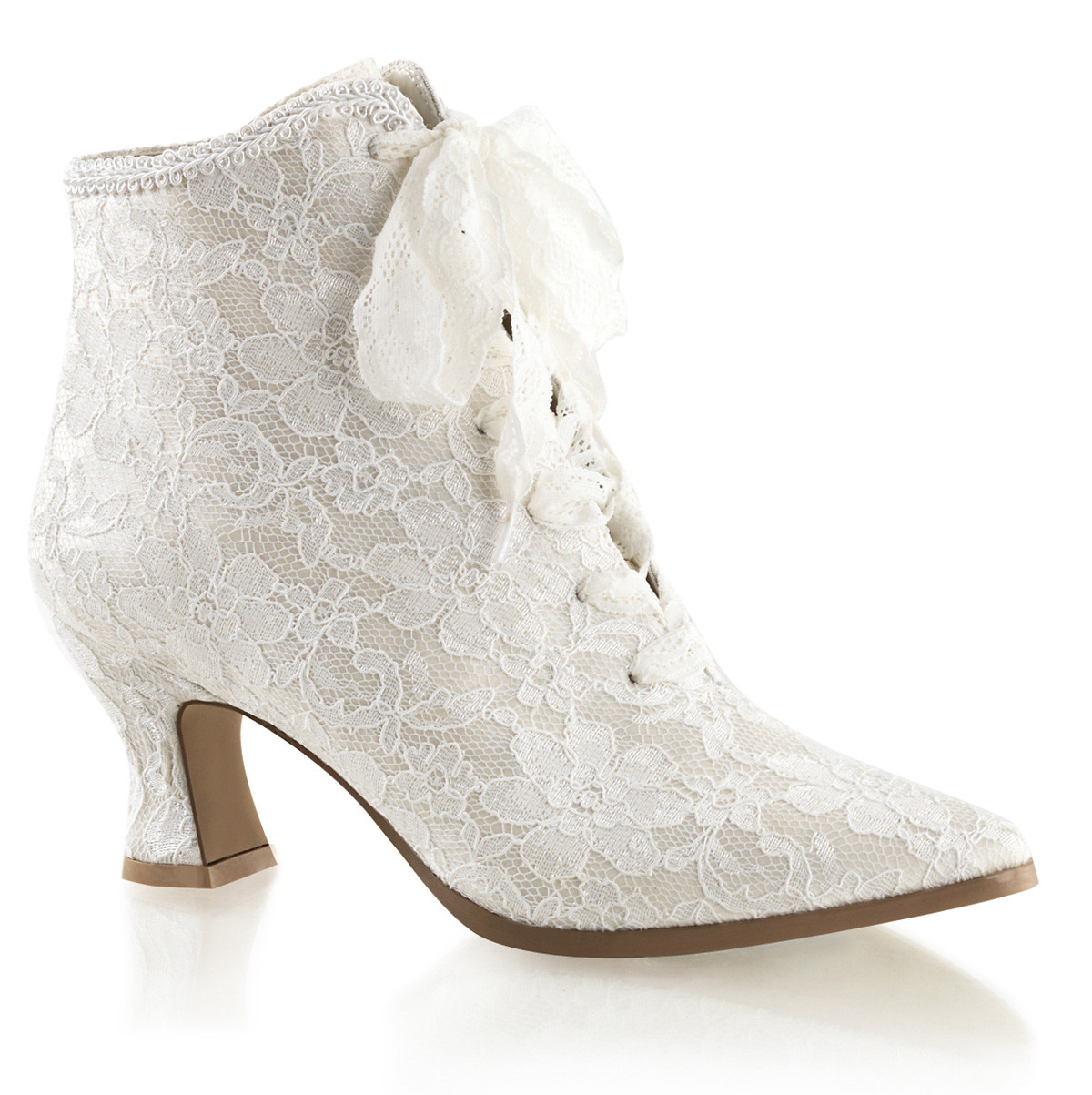 """2.75"""" Heel Ivory Satin-Lace Up Ankle Booties"""