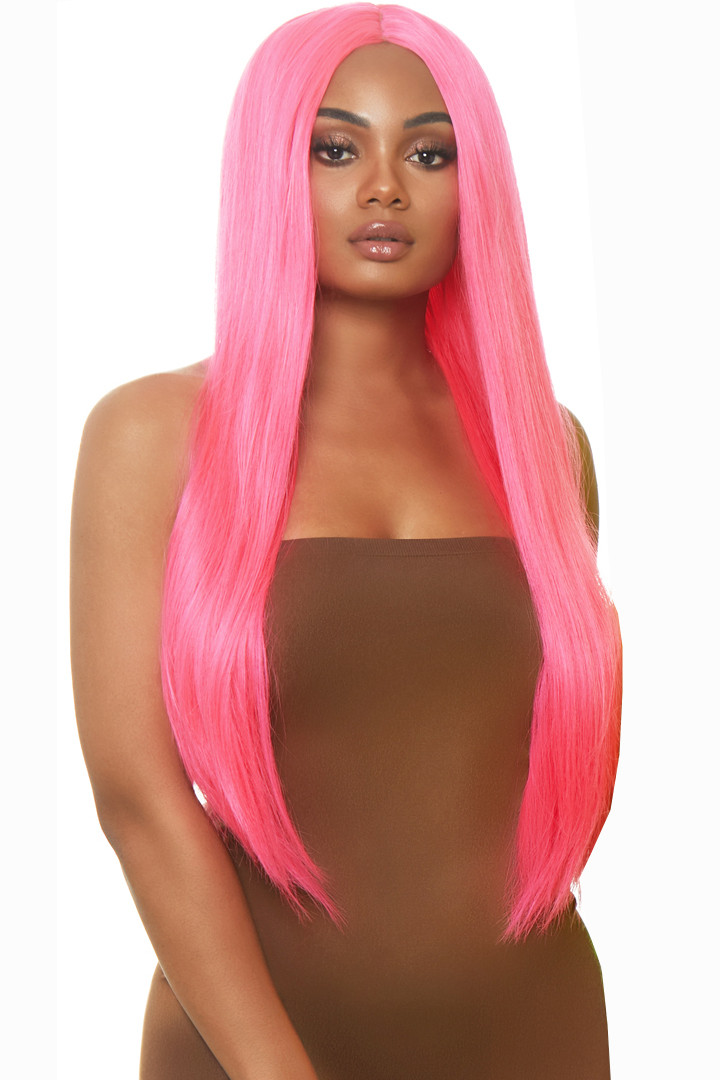 """33"""" Neon Pink Extra Long Wig"""