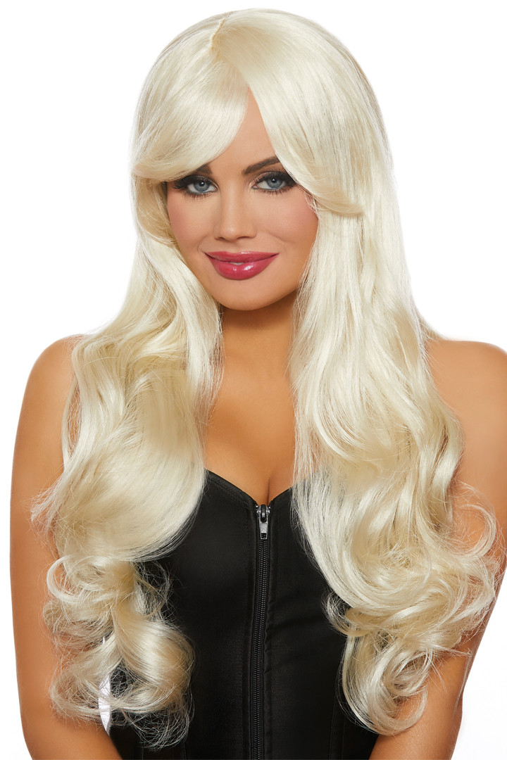 Long Blonde Wavy Wig with Bangs