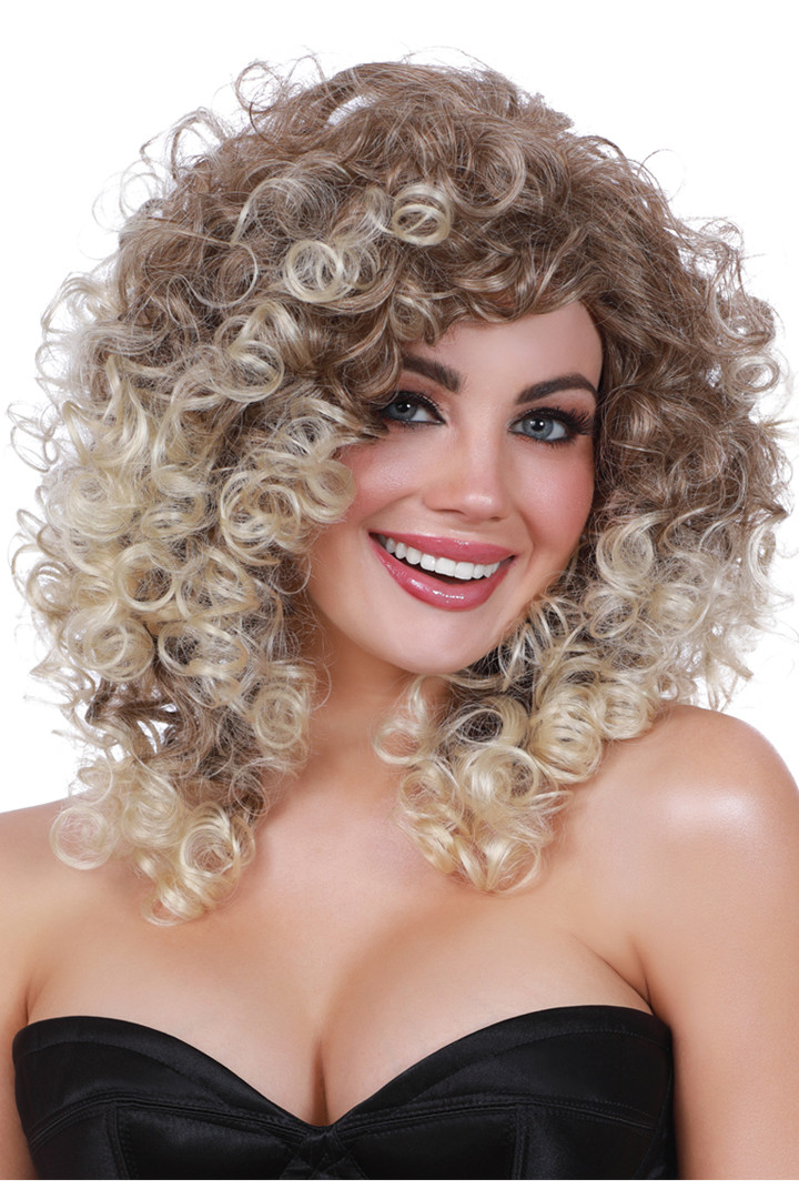 Tight Curls with Dark Roots Wig