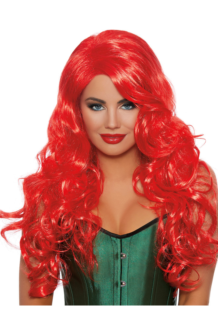 Exotic Red Long Wavy Wig