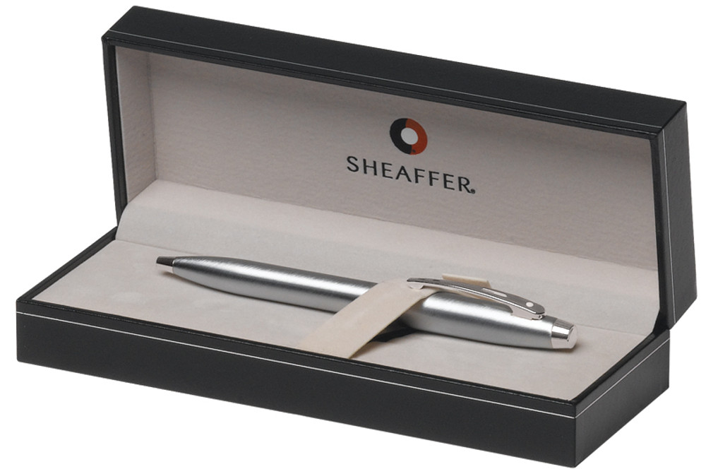 Sheaffer 100 Brushed Chrome Ballpoint Pen in gift box