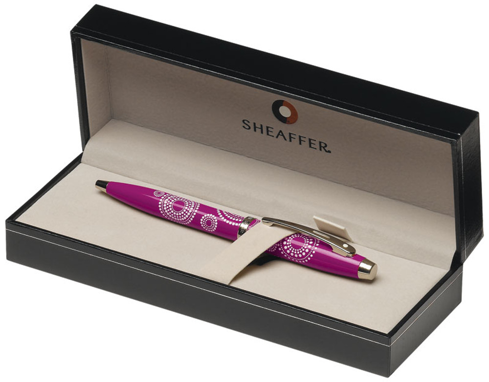 Sheaffer 100 Gloss Pink Pattern Ballpoint Pen in gift box