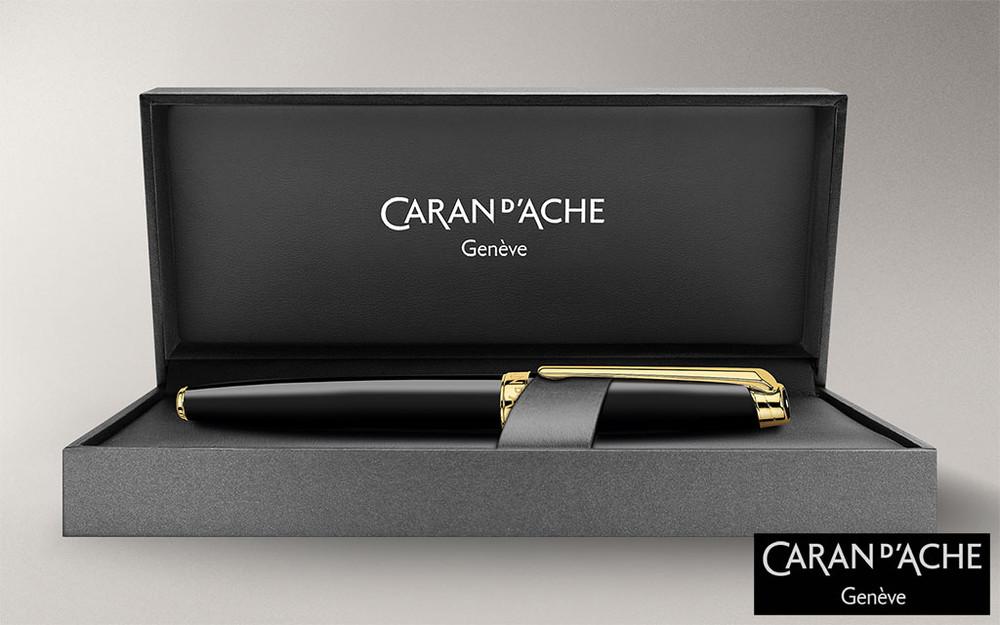 Caran d'Ache Leman Ebony Black Gold-Plate Trim Fountain Pen Medium