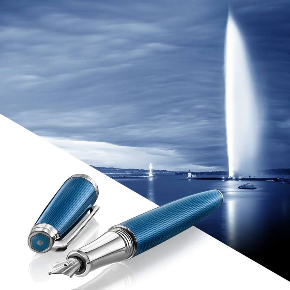 Caran d'Ache Leman Grand Bleu Fountain Pen Fine 4799.158