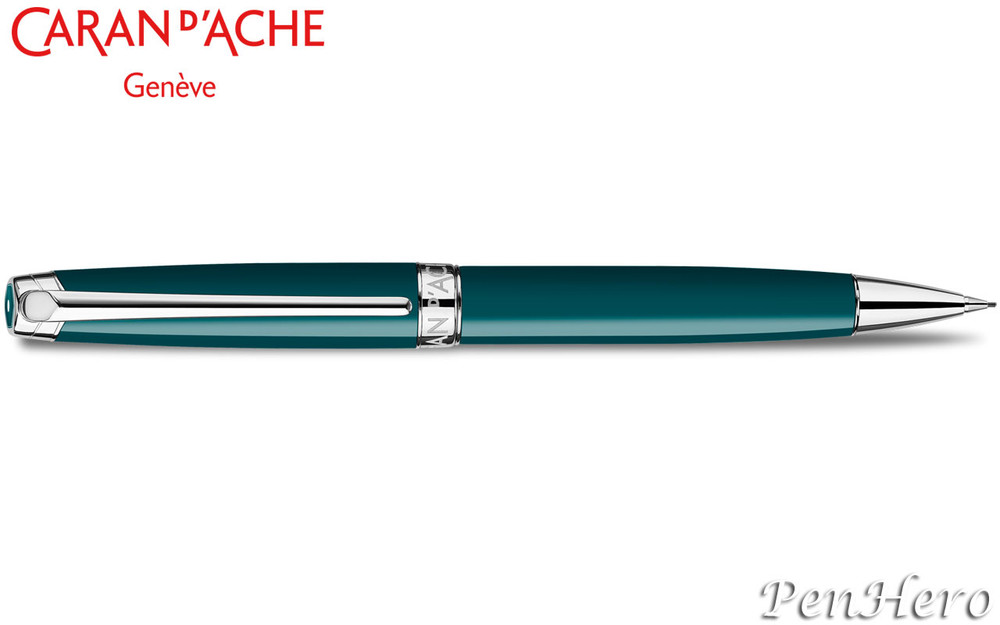 Caran d'Ache Leman Green Amazon Silver-Plate Trim Mechanical Pencil