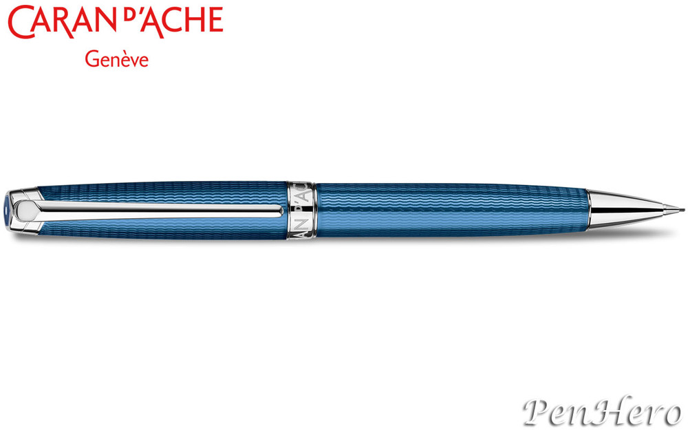 Caran d'Ache Leman Grand Bleu Silver-Plated, Rhodium Coated Mechanical Pencil 4769.168