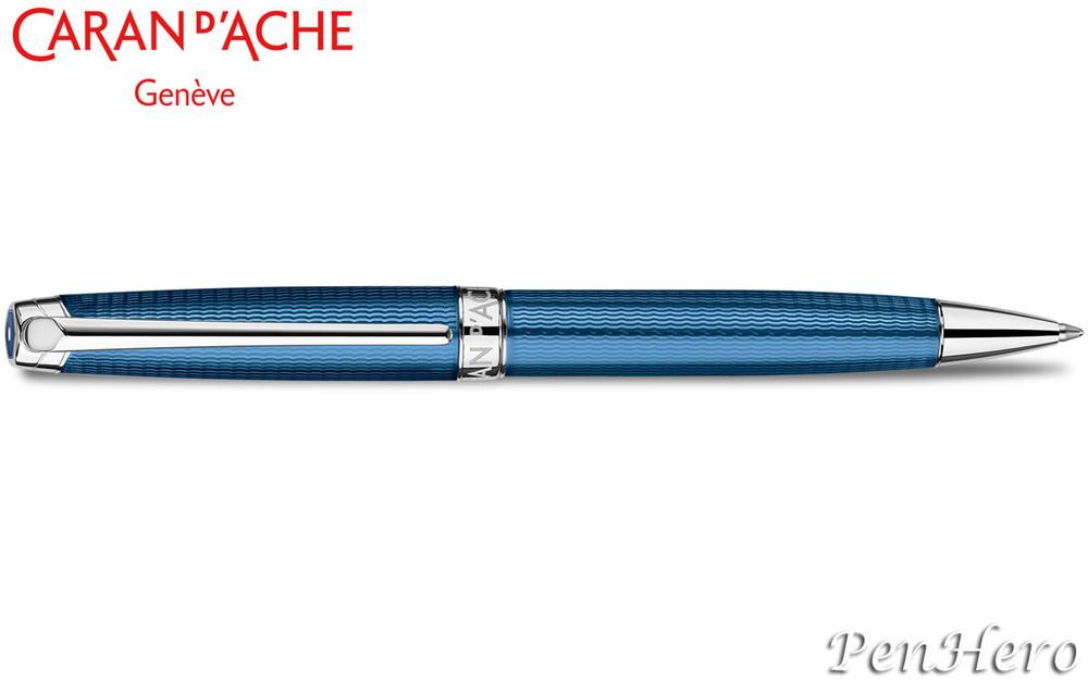 Caran d'Ache Leman Grand Bleu Silver-Plate Trim Ballpoint Pen 4789.168