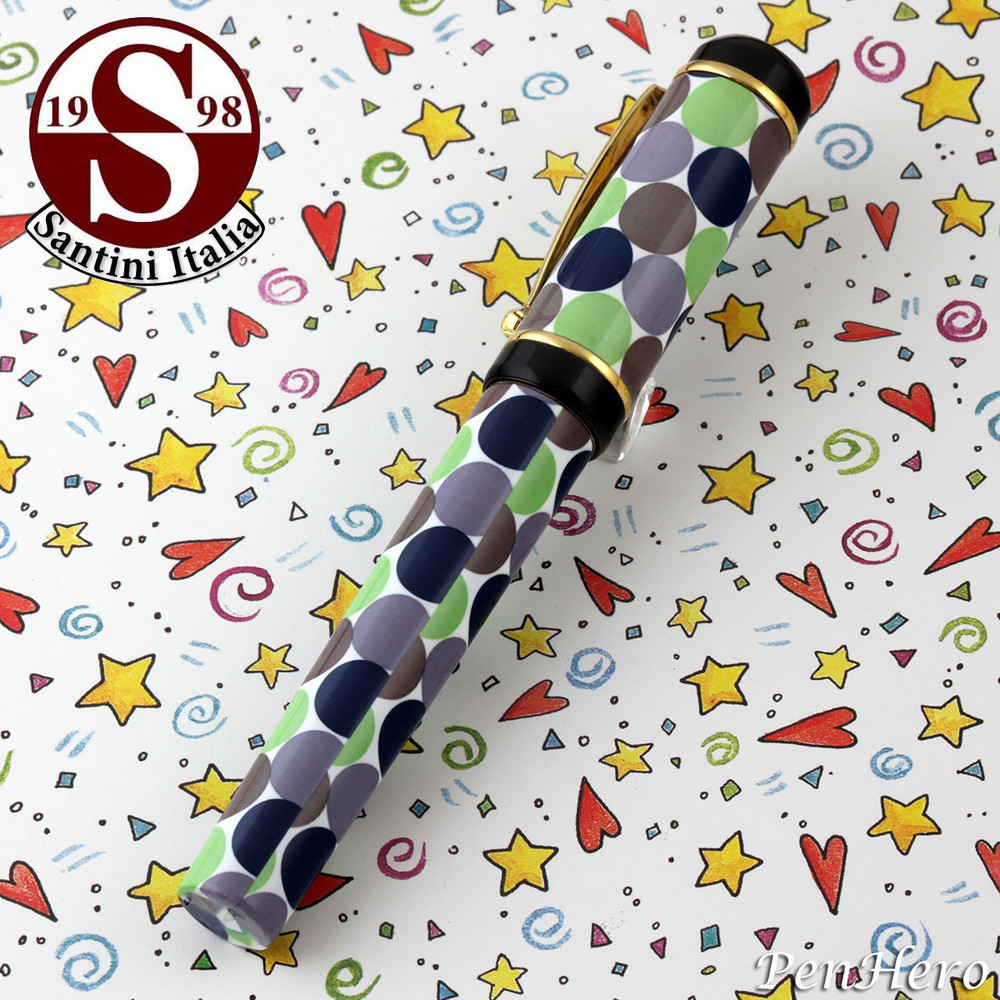 Santini Italia Santini Italia Pois Green Blue Lavender Polka Dots Fountain Pen Fine