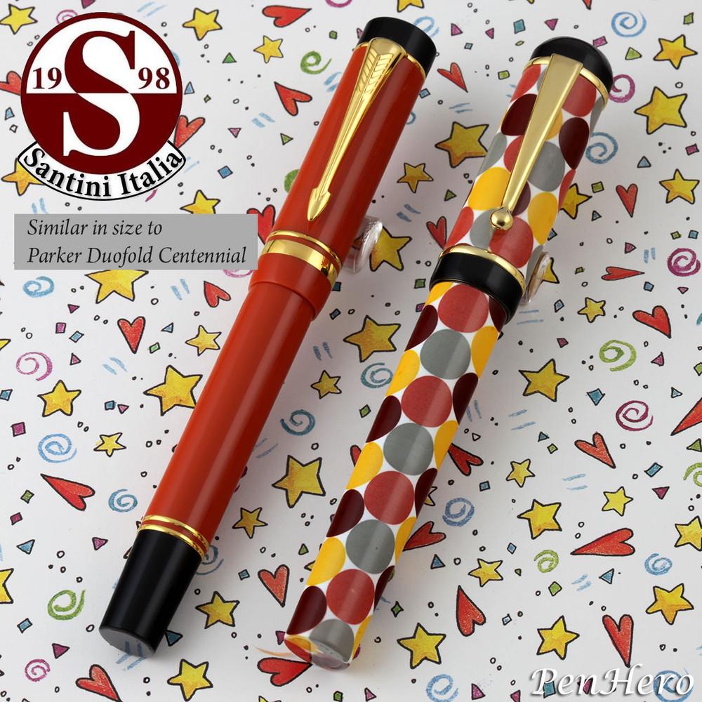 Santini Italia Pois Rust Yellow Brown Polka Dots Fountain Pen Medium