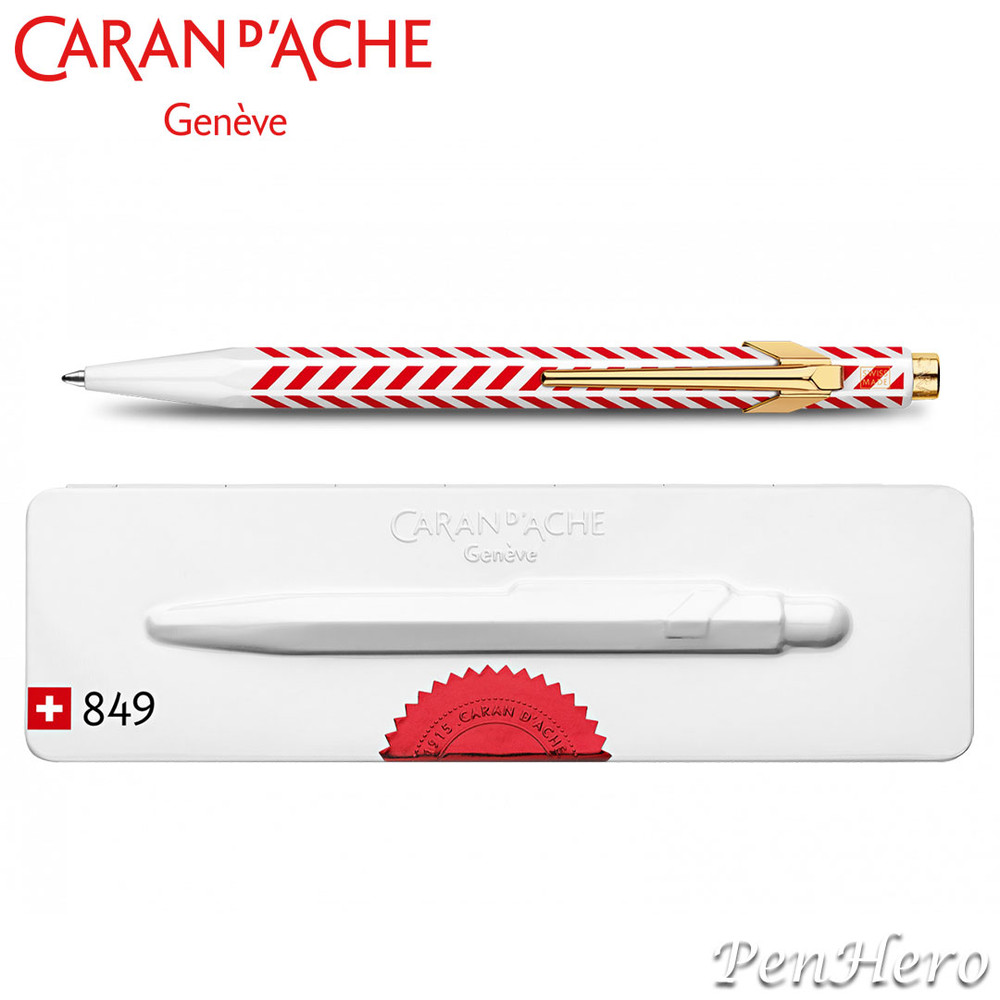 Caran d'Ache 849 Chevron ballpoint pen CC0849.018, with holder