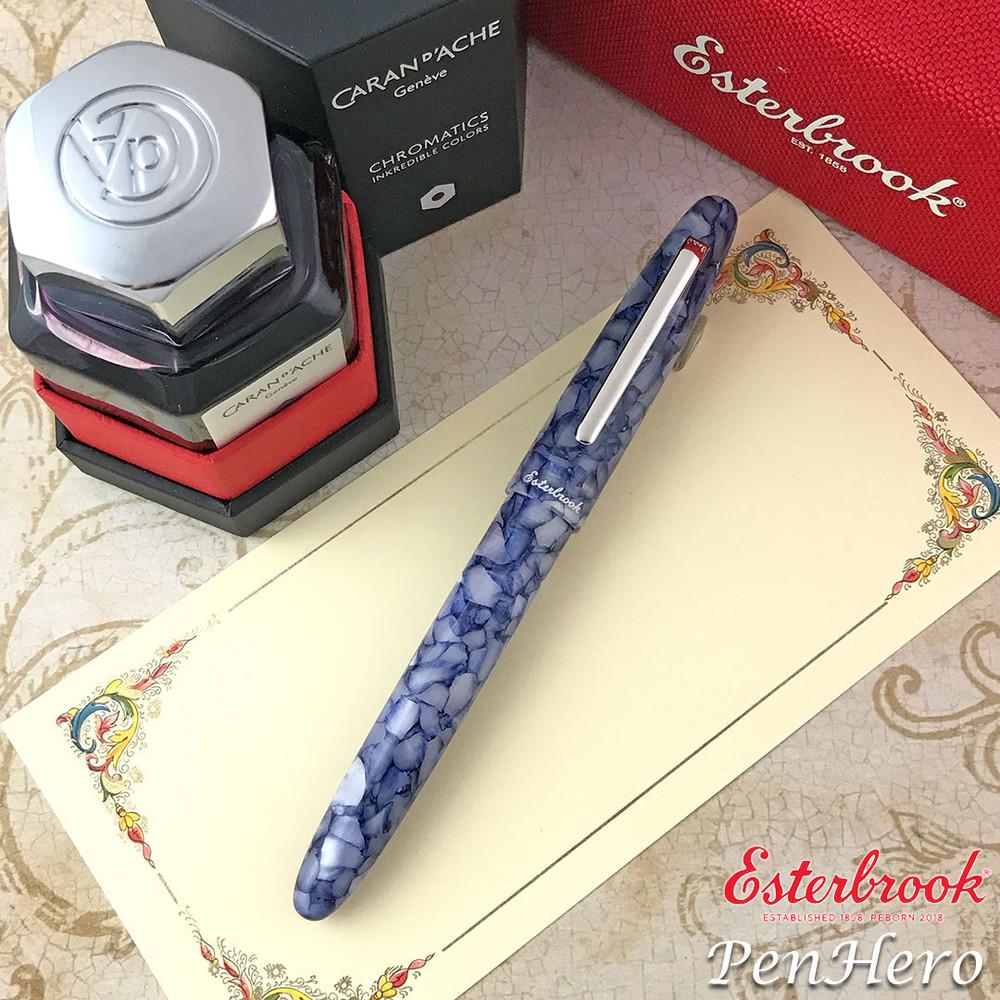Esterbrook Estie Blueberry Silver Trim Fountain Pen Broad E636-B