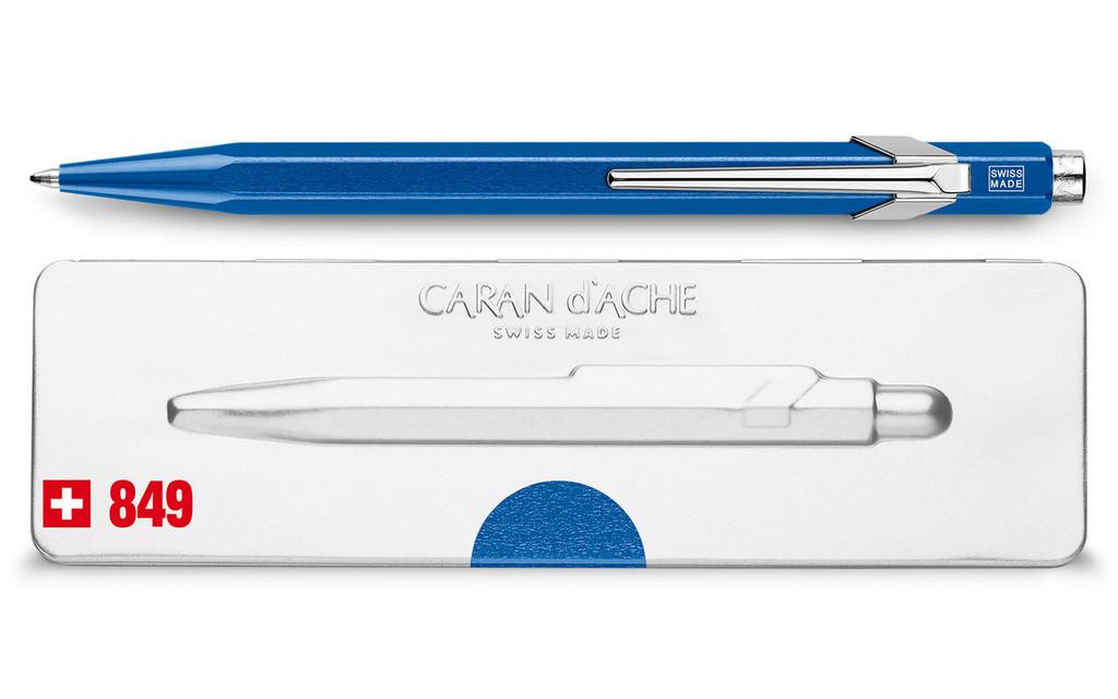 Caran d'Ache 849 POPLINE Metal-X Blue Ballpoint Pen