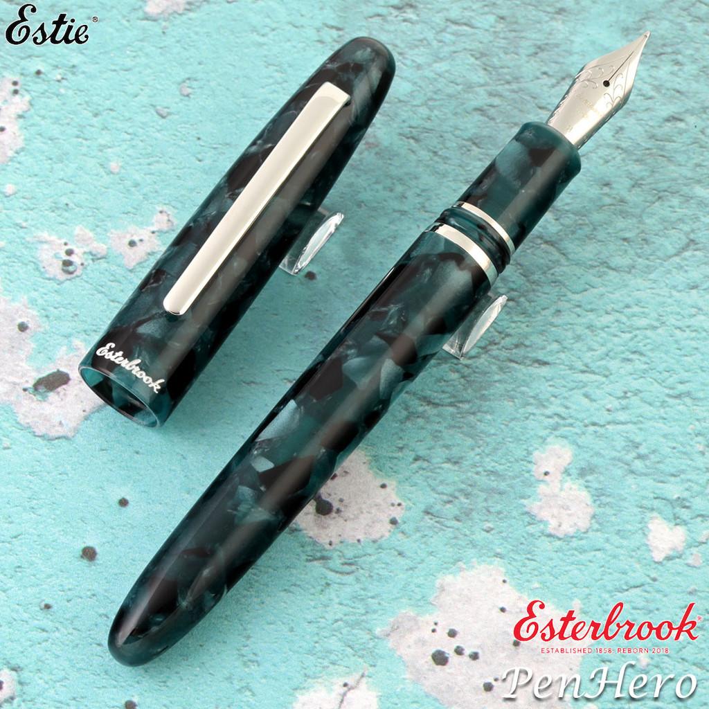 Esterbrook Estie Evergreen Palladium Plate Trim Fountain Pen 1.1 Stub E186-S