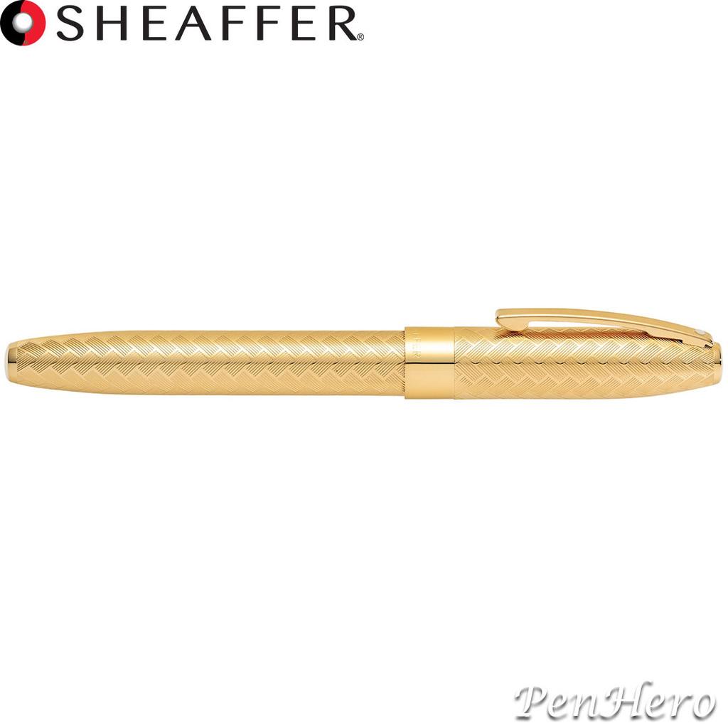 Sheaffer Legacy Engraved Chevron Pattern 23KT Gold-plated Fountain Pen Fine Nib