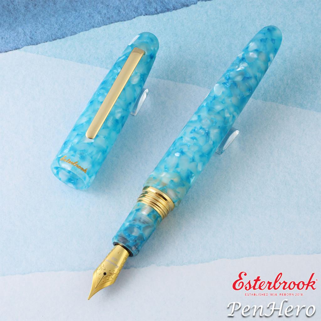 Esterbrook Estie Oversize Aqua Gold Plate Trim Fountain Pen Broad EAQ706-B