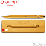 Caran d'Ache 849 GOLDBAR Ballpoint Pen 849.999, with holder