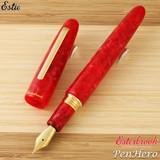 Esterbrook Estie Oversize Maraschino Red Gold Plate Trim Fountain Pen 1.1 Stub E506-S