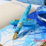 Esterbrook Estie Aqua Gold Plate Trim Fountain Pen 1.1 Stub EAQ716-S