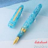 Esterbrook Estie Oversize Aqua Gold Plate Trim Fountain Pen Fine EAQ706-F
