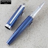 Caran d'Ache Leman Grand Bleu Silver-Plate Trim Rollerball Pen 4779.168