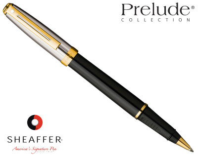 Sheaffer Prelude Black Onyx Lacquer / Palladium Plate Cap G/T Rollerball Pen