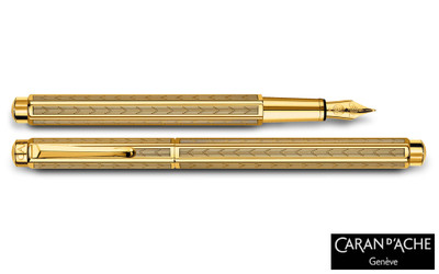 Caran d'Ache Ecridor Chevron Gold Fountain Pen Medium