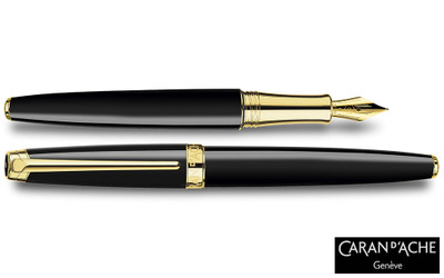 Caran d'Ache Leman Ebony Black Gold-Plate Trim Fountain Pen Medium