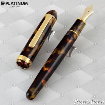 Platinum  #3776 Celluloid Tortoise Fountain Pen Fine Nib