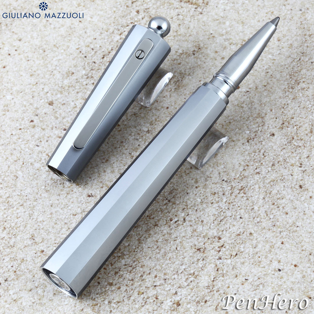 Giuliano Mazzuoli Miniofficina Micrometer Brushed Chrome Ballpoint Pen