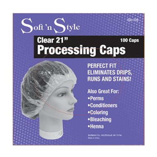 Soft 'n Style Clear Processing Caps - 100 Ct.