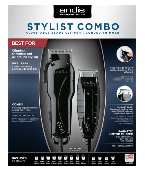 Andis Professional Stylist Adjustable Blade Clipper & Corded Trimmer Combo
