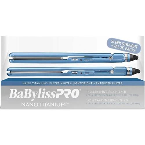 Nano Titanium 1 Inch And 1-1/2 Inch Ultra Thin Hair Straightener  Duo