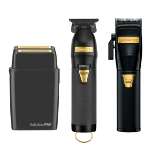 BaByliss Pro Black FX Clipper, Skeleton FXTrimmer, and Double Foil Shaver Combo