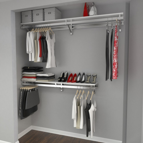 Arrange a Space RCMBY Elite Closet Organizer System Top and Bottom Shelf/Hang rod Kit with Long Hang