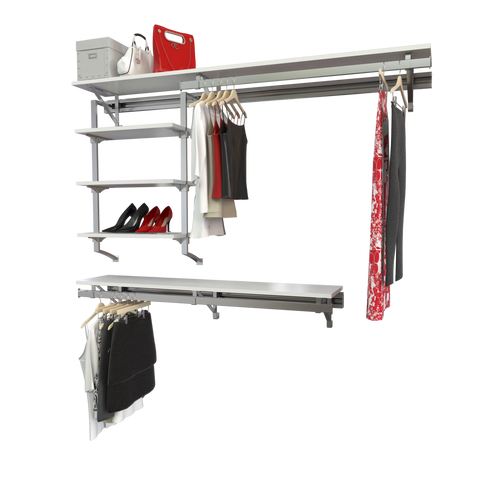 Arrange a Space RCMCY Select Closet Organizer System Top and Bottom Shelf/Hang rod Kit with Long Hang and Three Shelf Unit