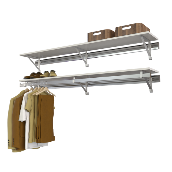 Arrange a Space RCMAY Better Closet Organizer System Top Shelf and Single Shelf/Hang Rod Kit