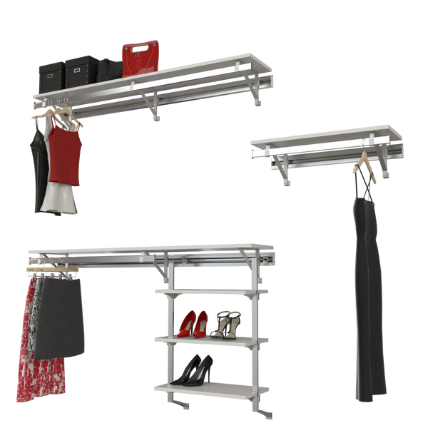 Arrange a Space DHL Deluxe Closet Organizer System Top and Bottom Plus Long Hang Shelf/Hang rod Kit with Three Shelf Unit