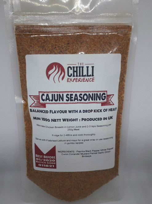 As with our feelings on using authentic chillies for cooking our favourite dishes, we are happy to introduce Authentic Cajun Seasoning from Louisiana full of the Deep South and French Influence Cajun seasoning for us is about an even blend of good flavour followed by a slight kick - mild in aspects Use in the dish of your choice and add meat and vegetables are suited, for me, King Prawn Cajun Soup or Cajun Shrimp if you prefer For quick awesome chicken kebabs, marinate 250g of chicken cubes in lemon juice and 2-3tsps of seasoning, fridge for 2-48hrs (longer the better) and cook thoroughly Serve with flatbread lettuce and a little mayo for the best wrap! Ingredients: Paprika, Black Pepper, White Pepper, Cumin, Coriander, Mustard, Fennel, Garlic, Onion, Chilli