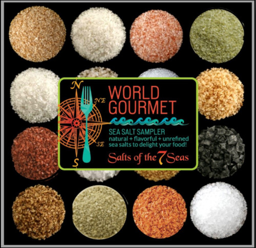 The World Sea Salt Sampler features red, black, grey, pink, flake sea salt,  and pyramid flake sea salt. They arrive here from places like Bali, France, Hawaii, Italy, and Peru.
