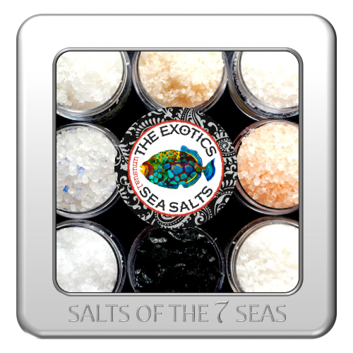 Sea salts from exotic places like Peru, Korea, South Africa, Himalayan Mountains, Iceland, South Africa, Bali, Cyprus, pink sea salt, flake sea salt, black sea salt, grey sea salt, pyramid flake sea salt