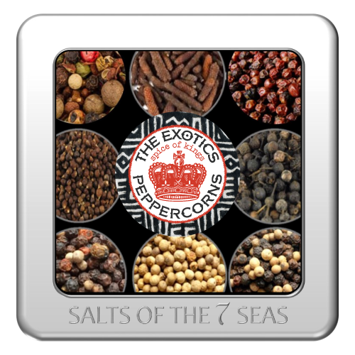 Exotic and rare peppercorns from Cambodia, Indonesia, India, Kampot peppercorns, white peppercorns, pink peppercorns, long peppercorns, mélange blend peppercorns, sample the world,tin