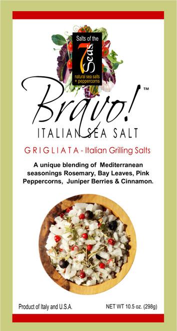 Bravo Grigliata Italian Sea Salt blend features rosemary, bay leaves, juniper berries, pink peppercorns and cinnamon.