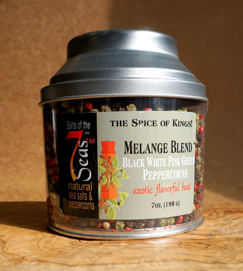 Melange Blend peppercorns are a mix of gourmet peppercorns featuring  green, pink, white and black peppercorns.