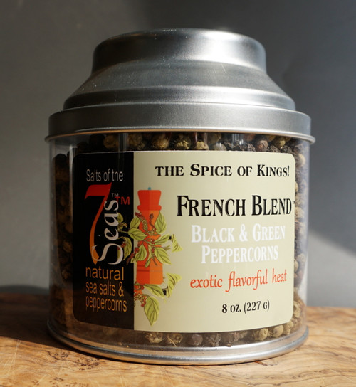 French Blend Peppercorns are a blend of green and black peppercorns.