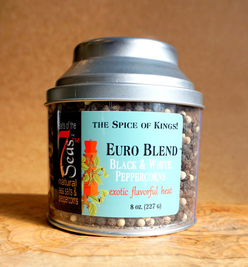 Euro Blend Peppercorns are a blend of  Tellicherry black peppercorns and a white Malaysian peppercorn.